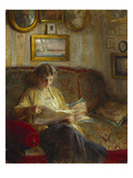 An Interior with a Woman Reading on a Sofa Giclee Print by Bertha Wegmann