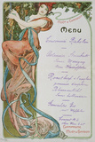 Moet and Chandon Menu, 1899 Reproduction procédé giclée par Alphons Mucha