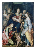 Holy Family with Angels, as Well as the Saints Barbara and Catherine, about 1600 Giclee Print by Joseph Heintz