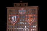 Detroit, MI - Oct 27: Detroit Tigers v SF Giants - Detroit Tigers and the SF Giants logo Photographic Print by Doug Pensinger
