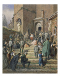Sunday Mass at the Church of Eisenerz (1869) Giclee Print by Carl Goebel