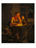 Junge Magd Beim Briefschreiben Bei Kerzenschein, 1838 Giclee Print by Moritz Muller