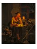 Junge Magd Beim Briefschreiben Bei Kerzenschein, 1838 Giclee Print by Moritz Muller