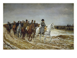 Napoleon on Campaign Followed by Marshals Ney and Berthier, Generals Drouot, Gourgaud and Flahaut Giclée-tryk af Ernest Meissonier