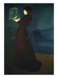 Dame Mit Vogelkaefig, 1892 Gicléetryck av Jozsef Rippl-Ronai
