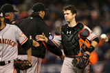 Detroit, MI - Oct 27: Detroit Tigers v San Francisco Giants - Buster Posey and Bruce Bochy Photographic Print by Ezra Shaw
