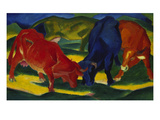 Fighting Oxen, 1911 Print by Franz Marc
