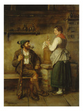 Huntsman and Maid Having a Chat in the Kitchen. after 1850 Giclee Print by Franz Von Defregger