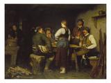 Poachers in a Mountain Cabin, 1876 Giclée-Druck von Franz Von Defregger