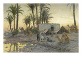 A Bedouin Camp at Gerzereh after Sunset, 1893 Giclee Print by Peder Moensted