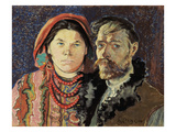 Self Portraitwith the Artist's Wife (Autoportret Z Zona) Giclee Print by Stanislaw Wyspianski