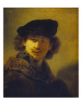Self Portrait with Velvet Cap and a Cloak with Fur Collar, 1634 Poster by  Rembrandt van Rijn