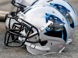 Carolina Panthers - Sept 20, 2012: Carolina Panthers Helmet Photographic Print by Mike McCarn