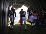 Chicago Bears - Sept 9, 2012: Brian Urlacher, Lance Briggs, Julius Peppers Fotografisk tryk af Nam Y. Huh