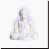 White Buddha Stretched Canvas Print