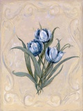 Tulips Azure Print on Canvas by Peggy Abrams