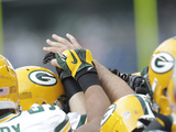 Green Bay Packers - Sept 24, 2012: Packers Huddle Photographic Print by Stephen Brashear
