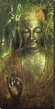 Buddha in Green l Opspændt lærredstryk af Wei Ying-wu
