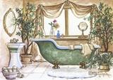 Vintage Bathtub lll Print on Canvas by Janet Kruskamp