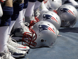 New England Patriots - Sept 9, 2012: Patriots Helmets Photographic Print by Wade Payne
