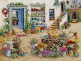 Courtyard Flower Shoppe Print on Canvas by Janet Kruskamp