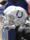 Indianapolis Colts - Sept 23, 2012: Indianapolis Colts Helmet Photographic Print by AJ Mast