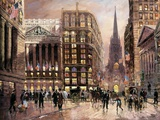 Wall Street 1890 Print on Canvas by Robert Lebron