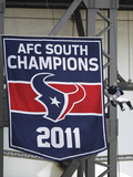 Houston Texans: Toro Hangs Next to the 2011 Banner Photographic Print