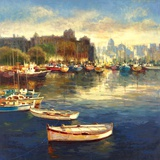 Harbor at Dusk Print on Canvas by  Arcobaleno