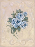 Roses Azure Print on Canvas by Peggy Abrams