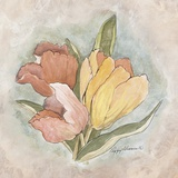 Victorian Panel-Tulips Print on Canvas by Peggy Abrams