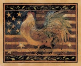 Old Glory Rooster Print on Canvas by Susan Winget