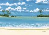 Caribbean Palms Print on Canvas by Rick Novak