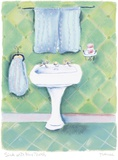 Sink With Blue Towels Print on Canvas by Dona Turner