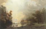 Sierra Nevada Morning Print on Canvas by Albert Bierstadt