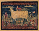 Farmhouse Sheep Print on Canvas by Susan Winget
