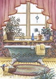 Vintage Bathtub l Print on Canvas by Janet Kruskamp