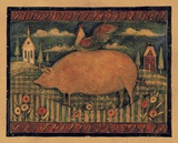Farmhouse Pig Print on Canvas by Susan Winget