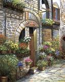 Flower Pots At Spello Print on Canvas by Joe Sambataro