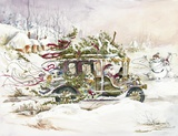 Santa's Limousine Print on Canvas by Peggy Abrams