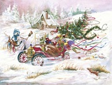 Santas 1909 Ford Print on Canvas by Peggy Abrams