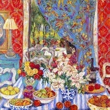 Red Dining Room with Striped Cloth Print on Canvas by Cynthia Gatien