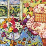 Interior with Toile Chair Print on Canvas by Cynthia Gatien