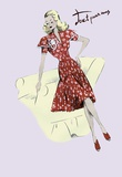 Polka-Dot Spring Dress, 1947 Print on Canvas