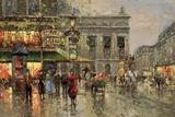 Vintage Parisian Street Scene Print on Canvas