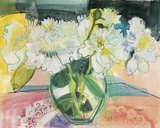 White Bouquet on Pink Table Print on Canvas by Maret Hensick