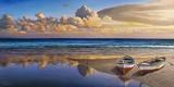 Barche sulla battigia Print on Canvas by Adriano Galasso