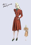 Casual Dress in Autumn Orange, 1947 Print on Canvas