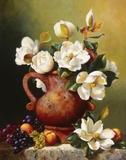 Magnolias In Terra Cotta Print on Canvas by Fran Di Giacomo