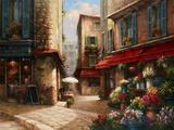 Flower Market Lane Print on Canvas by Han Chang